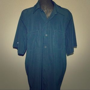 Mens Dickies Be Cool Button-Down Shirt Blue Large